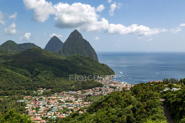 Coastal town of Soufriere — Stock Photo