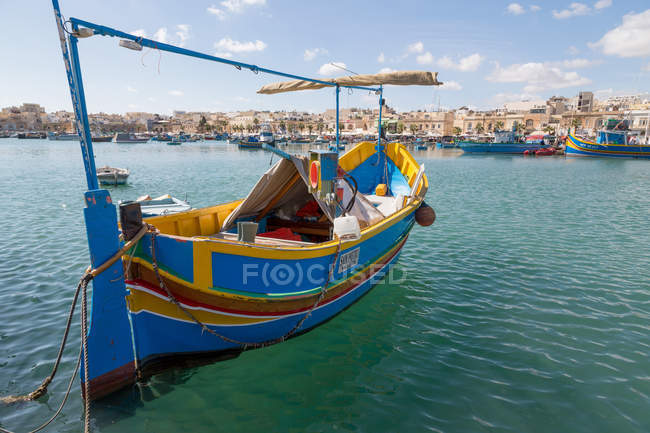 Traditional brightly painted fishing boat — Stock Photo