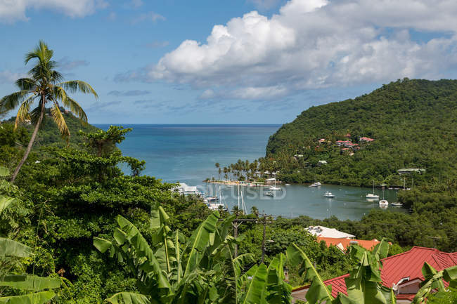 Tropical and sheltered Marigot Bay — Stock Photo