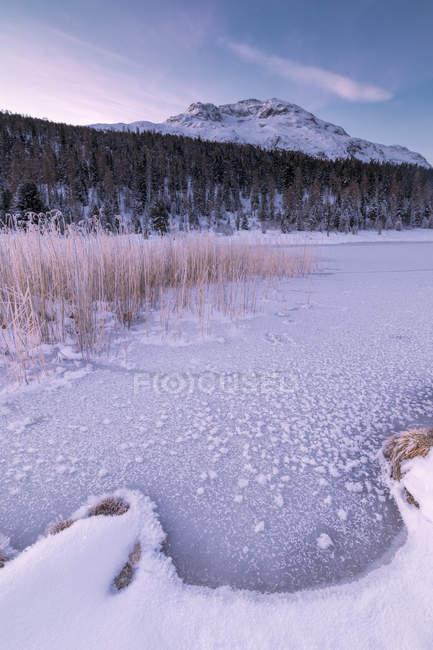 Lac gelé au Lej da Staz — Photo de stock