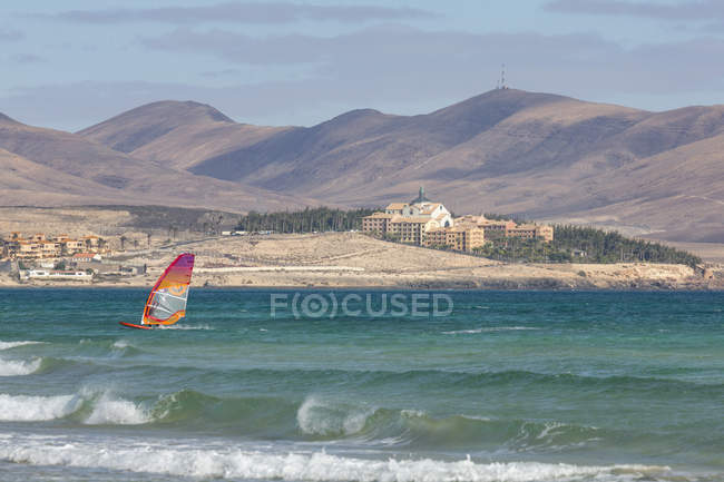 Wind surfer on Playa de La Barca — стоковое фото