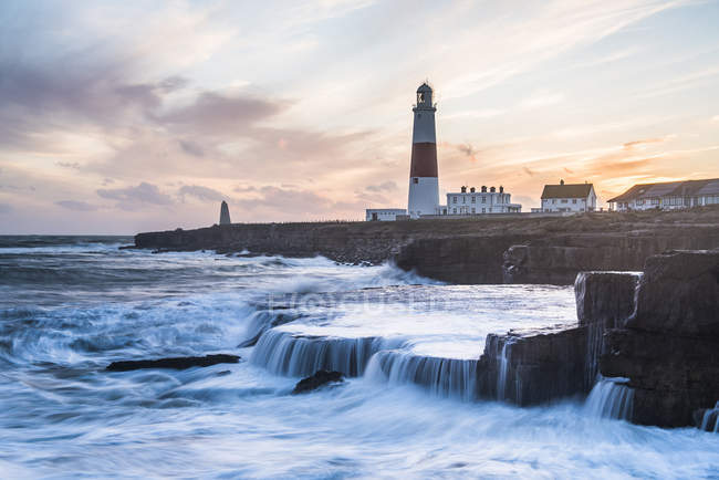 Portland Bill Lighthouse at sunset — Stock Photo