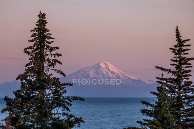 Гора редут на захід сонця з ялинок, озеро Кларк Національний парк і заповідник, Аляска, Сполучені Штати Америки, Північна Америка — стокове фото