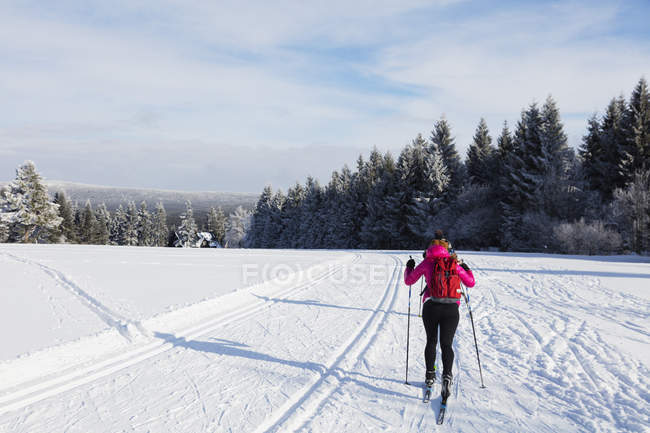 Female cross country skier in winter, Liberec, Czech Republic — Stock Photo