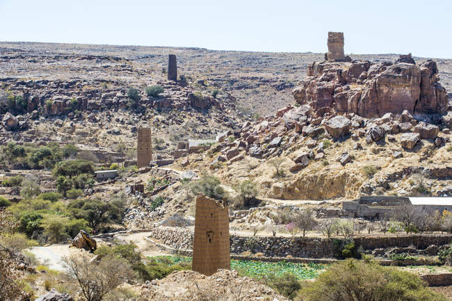 Vila fortificada perto de Abha, Arábia Saudita, Oriente Médio — Fotografia de Stock