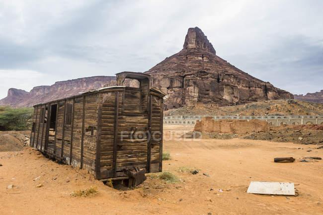 Antigo vagão gasto na areia, Hijaz estação ferroviária, Al Ula, Arábia Saudita, Oriente Médio — Fotografia de Stock