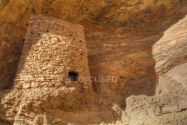 Башта руїни висічені в скелі, спадковий Pueblo Coomb хребта області, штат Юта, США, Північної Америки — стокове фото