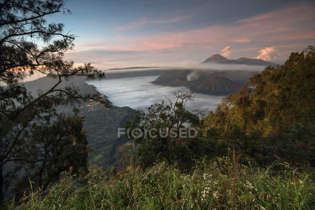 Monte Bromo y Costa en sunrise, Java Oriental, Indonesia, sudeste asiático, Asia - foto de stock