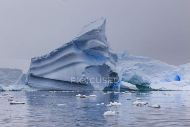 Blaue Eisberge in Schneewetter, Paradise Bay, Graham-Land, antarktische Halbinsel, Antarktis, Polarregionen — Stockfoto
