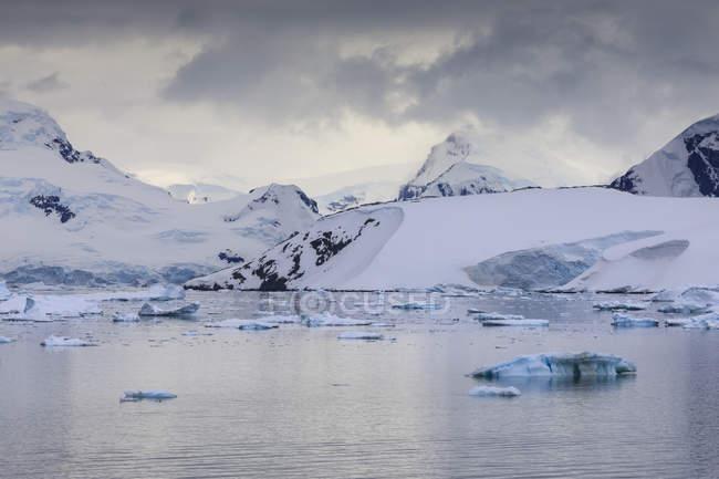 Berge, Gletscher und blaue Eisberge der Paradise Bay, Graham-Land, antarktische Halbinsel, Antarktis, Polarregionen — Stockfoto