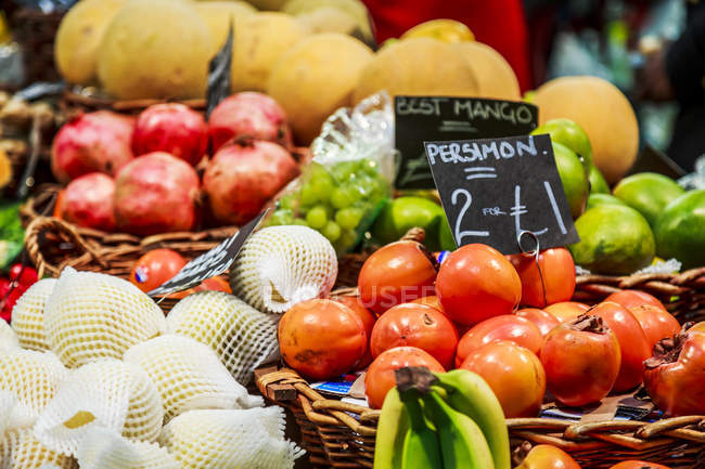 Fruits and vegetables on stall at farmer market — Stock Photo