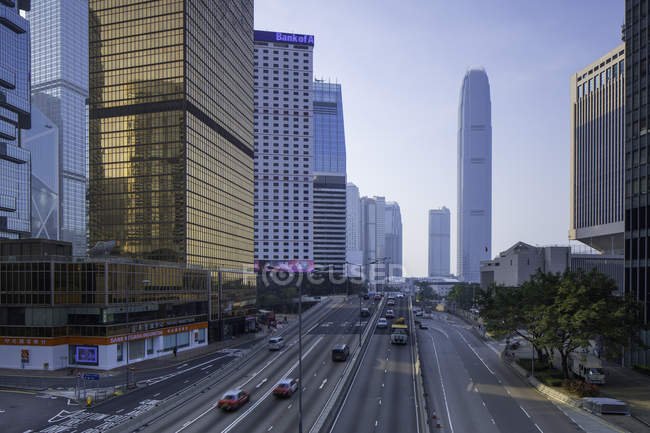 Skyscrapers in International Finance Centre and Connaught Road, Central, Hong Kong Island, Hong Kong, China, Asia — Stock Photo