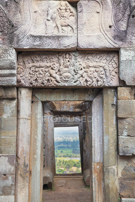 Lintel of stone historical Khmer temple, Cambodia, Indochina, Southeast Asia, Asia — Stock Photo
