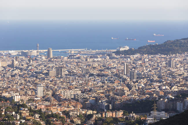 Aerial View Of Barcelona Cityscape And Harbor Catalonia Spain