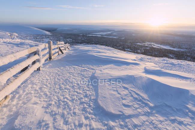 Frozen fence in snow on hill at sunrise, Pallas-Yllastunturi National Park, Muonio, Lapland, Finland — стоковое фото