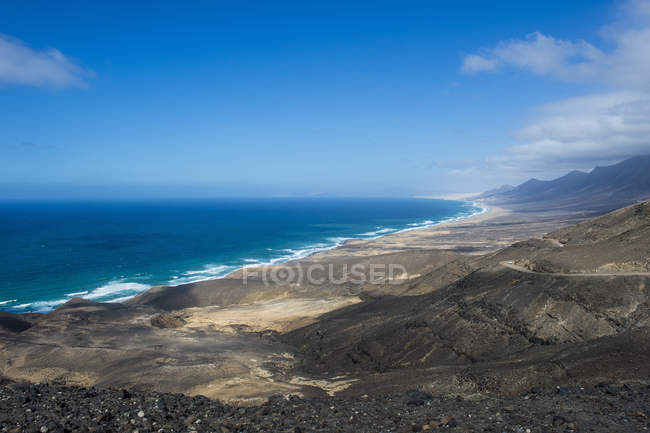 Remote Cofete Beach and volcanic landscape, Fuerteventura, Canary Islands, Spain, Atlantic, Europe — Stock Photo