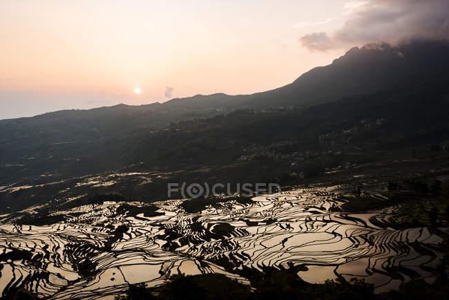 Duoyishu рисові тераси на світанку, Yuanyang, провінції Юньнань, Китай, Азії — стокове фото