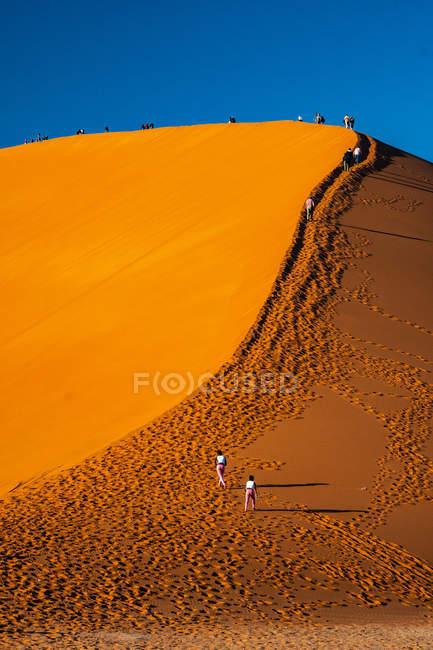 Pessoas escalada maciça laranja Duna de areia, área de Sossusvlei, o deserto do Namibe, Namib-Naukluft, Namíbia, África — Fotografia de Stock