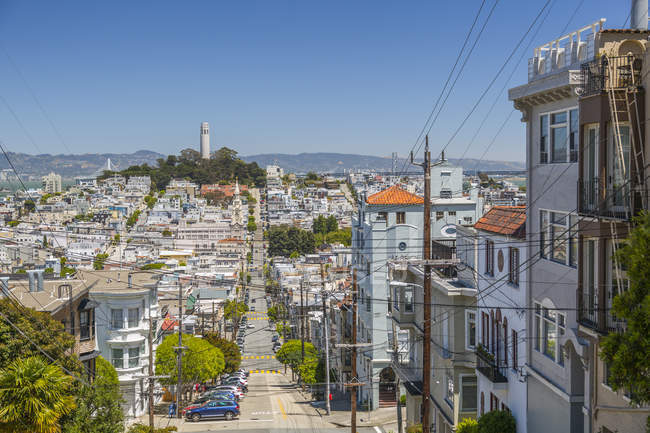 Residential houses and Coit Tower on background, San Francisco, California, United States of America, North America — Stock Photo