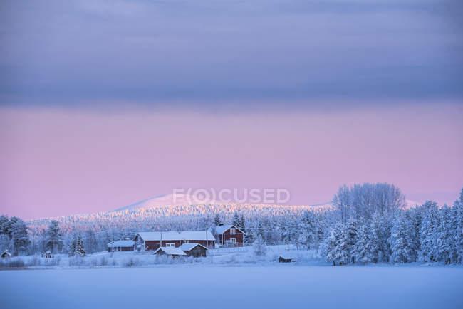 Amanecer en el lago de Torassieppi congelado en invierno, Laponia, Finlandia - foto de stock