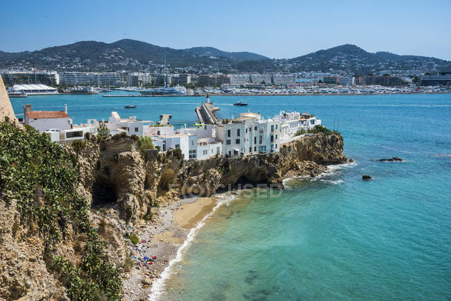 White coastal buildings in Eivissa Town, Ibiza, Balearic Islands, Spain — Stock Photo
