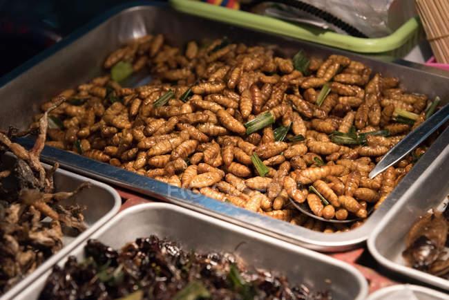 Cibo di strada di vermi e grilli al mercato di strada — Foto stock