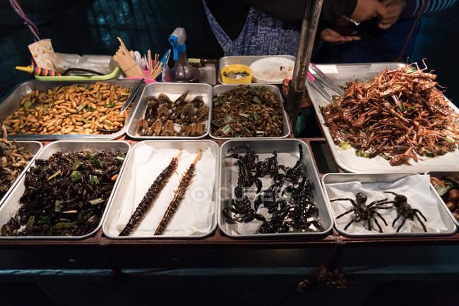 Уличной еды глубокой жареные насекомых и ошибок — стоковое фото