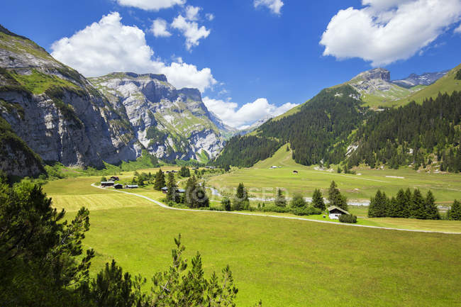 Val Bargis vallée et les montagnes Rocheuses en été, Flims, District d'Imboden, Canton des Grisons, Suisse — Photo de stock