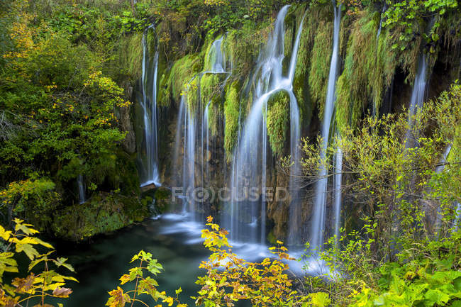 Waterfalls and vegetation in Plitviche National Park, Croatia — Stock Photo
