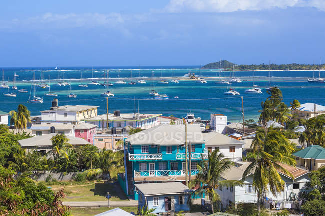 View of Clifton town with colorful houses and Clifton harbour with yachts, Union Island, The Grenadines, West Indies, Caribbean, Central America — Stock Photo