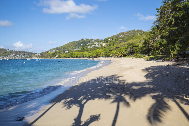 Shadow of trees on sandy Princess Margaret Beach, Bequia, The Grenadines, West Indies, Caribbean, Central America — Stock Photo