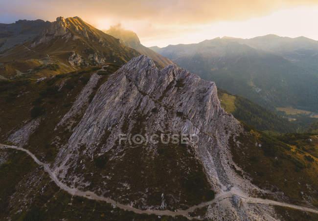 Rocky Corna Blacca at sunrise, Adamello Park, Brescia province, Lombardy, Italy — Stock Photo