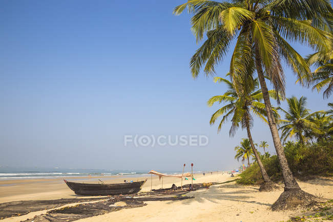 Pittoresca spiaggia di Colva con barca e palm trees, Goa, India, Asia — Foto stock