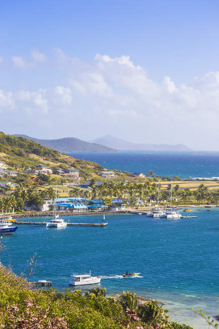 View of Clifton Harbour with boats and coast, Union Island, The Grenadines, West Indies, Carribean, Central America — Stock Photo