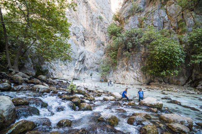 View of rocky Saklikent Gorge, Saklikent National Park, Fethiye Province, Lycia, Anatolia, Turkey, Asia Minor, Eurasia — стоковое фото