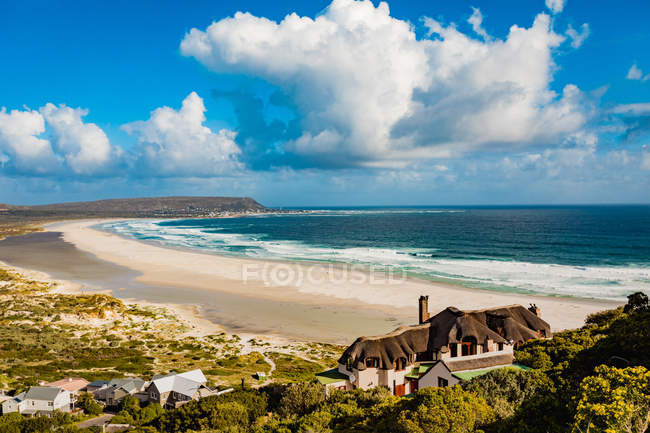 View of beach and coastal houses near Cape Town, South Africa, Africa — Stock Photo
