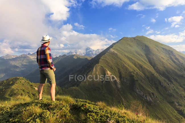 Hombre de pie en la cima de Monte Rolla y mirando a ver, Sondrio provincia, Valtellina, Lombardía, Italia, Europa - foto de stock