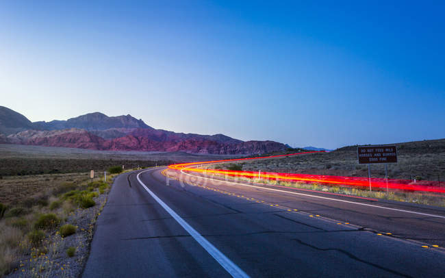 View of trail lights at dusk in Red Rock Canyon National Recreation Area, Las Vegas, Nevada, United States of America, North America — Stock Photo