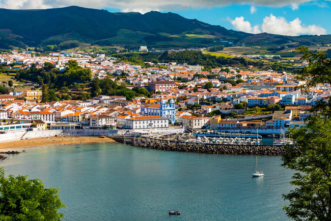 View of houses and buildings in Angra do Heroismo on Terceira Island, Azores Islands, Portugal — Stock Photo