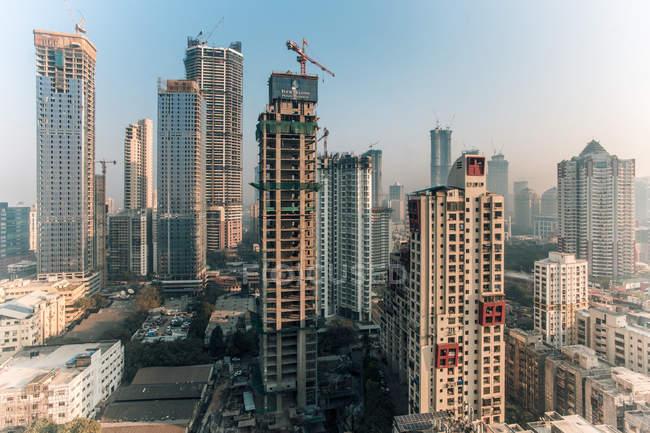 City skyline of modern office and residential buildings, Mumbai, Maharashtra, India, Asia — Stock Photo