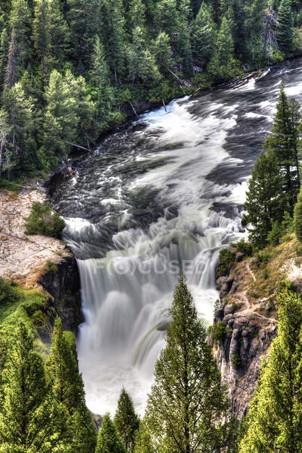 Picturesque Lower Mesa Falls in woods, near Island Park, Idaho, United States of America, North America — Stock Photo