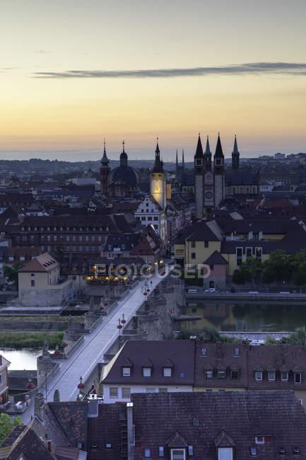 View over Wurzburg city at dawn, Bavaria, Germany, Europe — Stock Photo