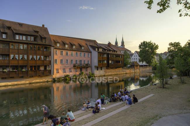 Housing along River Pegnitz, Nuremberg, Bavaria, Germany, Europe — Stock Photo