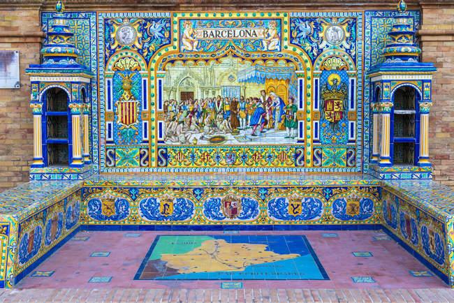 Ніша і лавки, прикрашені Azulejos керамічна плитка, Plaza de Espana, Севілья, Андалусия, Іспанія, Європа — стокове фото