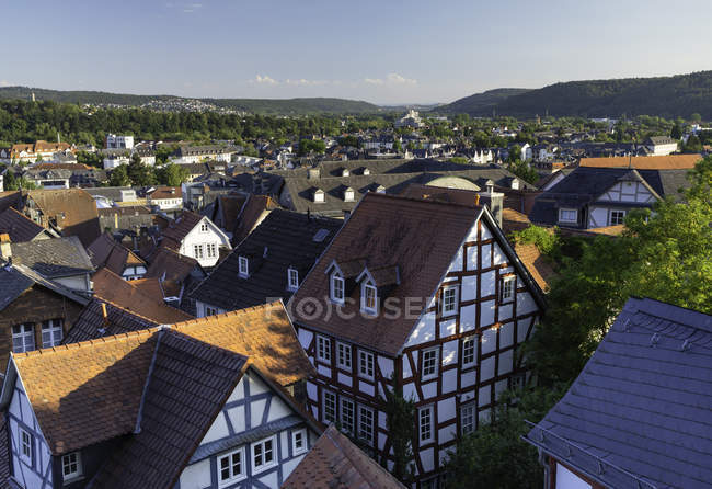 Half-timbered buildings and view of town, Marburg, Hesse, Germany, Europe — стокове фото