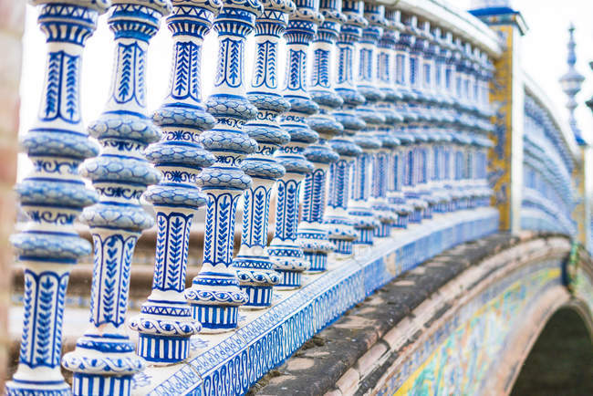 Close-up of ceramic tiled pillars of balustrade, Plaza de Espana, Seville, Andalusia, Spain, Europe — Stock Photo