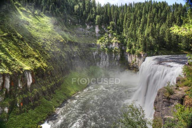 Верхній Mesa водоспад з скель і зелені ліси, парк острова, Айдахо, Сполучені Штати Америки, Північна Америка — стокове фото