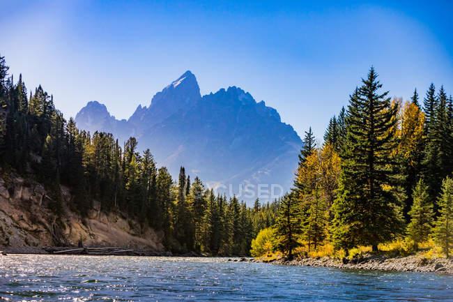 Мальовничий вид на річку і гір у національному парку Йеллоустоун, Вайомінг, Сполучені Штати Америки, Північна Америка — стокове фото