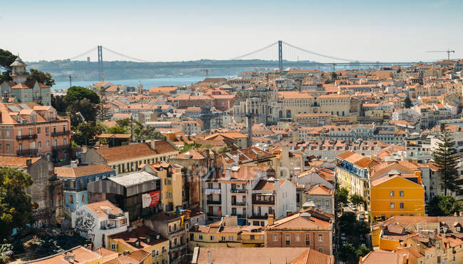 View of old town and rooftops, Lisbon, Portugal, Europe — Stock Photo