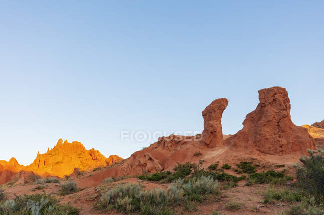 Sandstone rock formations in Fairy Tale canyon, Skazka Valley, Tosor, Kyrgyzstan, Central Asia, Asia — Stock Photo